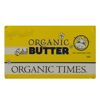 Organic Times - SHORT CODED Salted Butter 250g Per Block