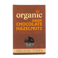 Organic Times - Dark Chocolate Coated Hazelnuts 150g Per Packet