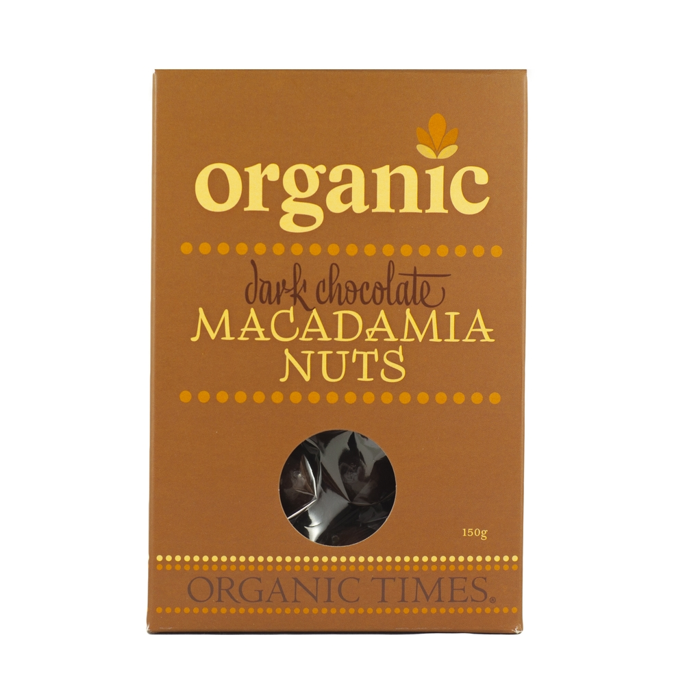 Organic Times - Dark Chocolate Coated Macadamias 150g Per Packet