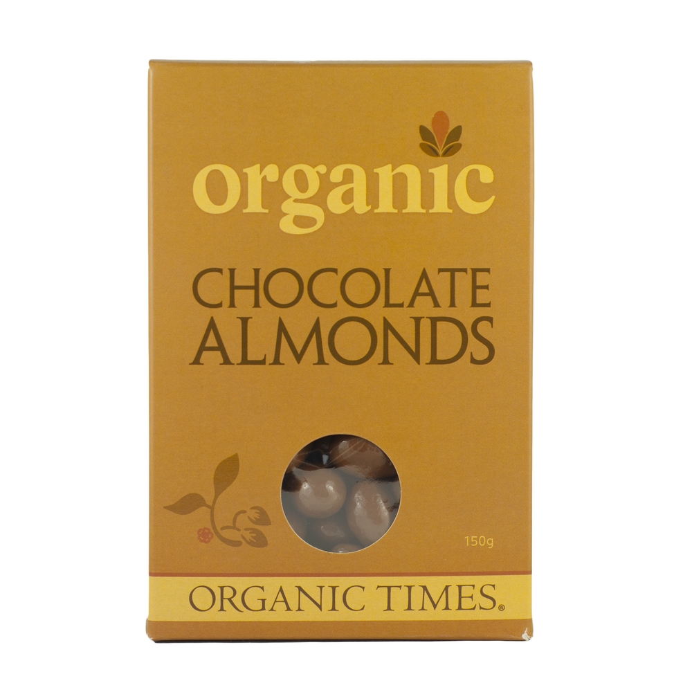 Organic Times - Milk Chocolate Coated Almonds 150g Per Packet